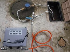 ▼量水器に設置した打込口